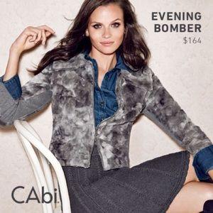 CAbi Gray Faux Fur Evening Bomber Jacket